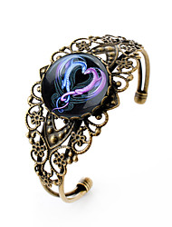 Lureme® Vintage Jewelry Time Gem Series Ssangyong Heart Shaped Antique Bronze Hollow Flower Open Bracelet for Women