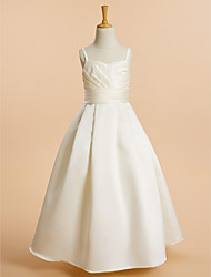 A-Line Floor Length Flower Girl Dress - Satin Sleeveless Spaghetti Straps with Ribbon by LAN TING BRIDE®