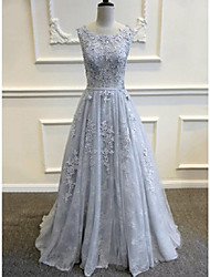 A-line Wedding Dress Wedding Dresses in Color Sweep / Brush Train Scoop Lace / Tulle withAppliques / Beading / Lace / Sash / Ribbon /