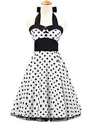 50s Era Vintage Style Halterneck Buttons Rockabilly Dress Cosplay Costume White Black Polka Dot (with Petticoat)
