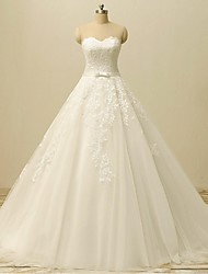 A-line Wedding Dress-Ivory Court Train Sweetheart Lace / Tulle