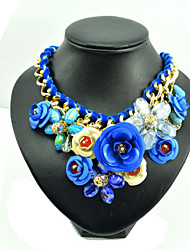 Women's Pendant Necklaces Collar Necklace Gemstone Alloy Rose Blue Jewelry Party Daily 1pc