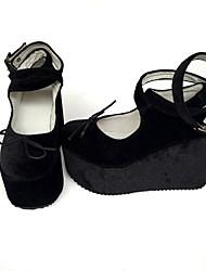 Punk Pana 8 Tacón Cuña Negro Zapatos de Lolita