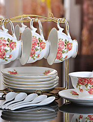 Ceramic Tea Cup 6*3pcs Afternoon Tea China British Style Random Color