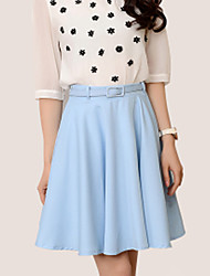 Women's Solid Blue / White / Black Skirts,Work / Casual / Day Above Knee