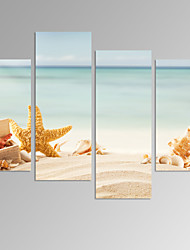 VISUAL STAR®4 Panel Beach Seascape Picture Print on Canvas Calm Landscape Artwork Ready to Hang