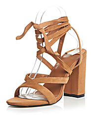 Women's Shoes Leather Chunky Heel Heels / Ankle Strap Sandals Party & Evening / Dress / (Genuine leather)