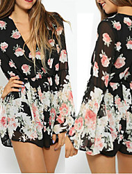 Women's Bandeau One-pieces / Cover-Ups,Floral One-Pieces Chiffon Black
