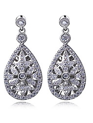 Earring Drop Earrings Jewelry Women Cubic Zirconia / Platinum Plated 2pcs White