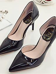 Zapatos de mujer-Tacón Stiletto-Puntiagudos-Tacones-Vestido-Semicuero-Negro / Plata