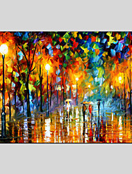 Oil Paintings Modern Landscape Rainy Street, Canvas Material With Wooden Stretcher Ready To Hang SIZE:60*90CM.