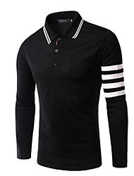 Men's Long Sleeve Polo,Rayon Casual Striped