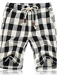 Men's Shorts,Sport / Plus Sizes Plaids Linen