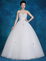 Ball Gown Wedding Dress Floor-length Sweetheart Lace / Tulle / Sequined with Beading / Pearl / Sequin