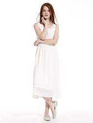 Meters/bonwe Women's Round Neck Sleeveless Tea-length Dress-233839
