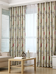 Two Panels tree Blackout Printing  Curtain