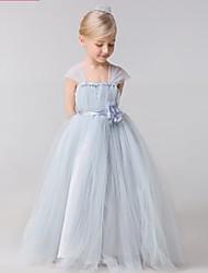 Ball Gown Floor-length Flower Girl Dress-Tulle Sleeveless