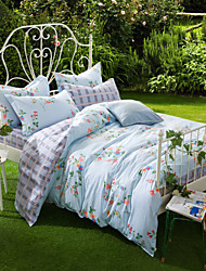 Sweet Holiday, Full Cotton Reactive Printing Pastoral Flowers Bedding Set 4PC, FULL Size