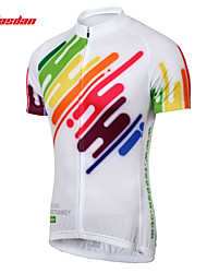 TASDAN Bike/Cycling Jersey / Jersey + Pants/Jersey+Tights Men's Short Sleeve Breathable / Quick Dry / Sweat-wicking 100% Polyester WhiteS