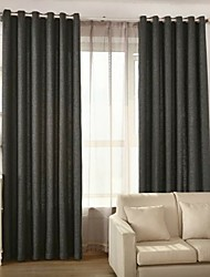 Two Panels European Solid Living Room Linen Blackout Curtains Drapes