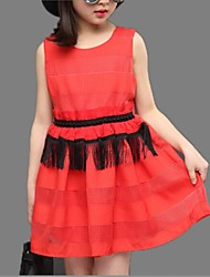 Girl's Red / Beige Dress,Lace Cotton Summer