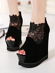 Women's Shoes Lace Wedge Heel Wedges / Heels / Platform Heels Wedding / Party & Evening / Dress Black