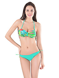Women's Bandeau Bikinis ,Push Up Tankini with Top in Printing Fabric, Bottom in Solid Fabric