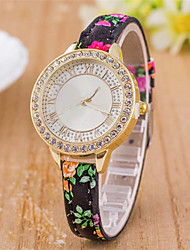 L.WEST Ladies' Flower Diamonds Thin Belt Quartz Watch