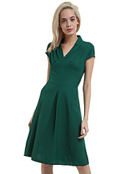 Women's Vintage Black/Green/Purple V Neck Midi Dress, Knitwear/Elastic Knee-length Short Sleeve