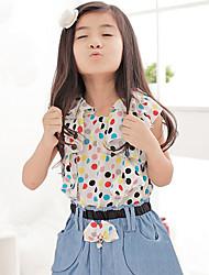 Girl's Cotton Summer Short Sleeve denim Patchwork chiffon Dress