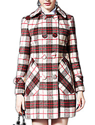 Women's Plaid Red / Black Coat,Simple Long Sleeve Polyester