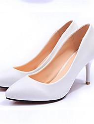 Calçados Femininos-Saltos-Saltos-Salto Agulha-Preto / Branco-Courino-Social