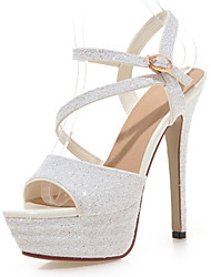 Women's Shoes Stiletto Heel Peep Toe / Platform Sandals Wedding / Party & Evening / Dress Black / White / Silver / Gold