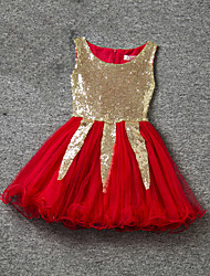Girl's Gold / Pink / Red Dress,Lace Polyester Summer