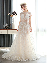 A-line Wedding Dress-White Court Train Jewel Chiffon / Lace / Tulle