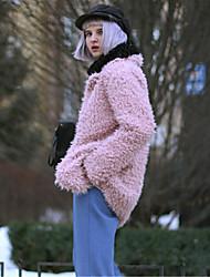 Women's Coat,Solid Round Neck Long Sleeve Winter Red / Black / Gray Faux Fur Medium