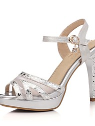 Women's Shoes Leatherette Spring / Summer / Fall Heels Wedding / Dress / Casual / Party & Evening Stiletto Heel Silver / Gold