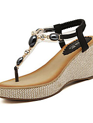 Women's Shoes Flipflop Bohemian Style Glisten Wedge Heel Platform / Comfort Sandals Dress / Casual Black / Beige