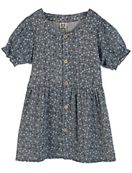 Girl's Casual/Daily Floral Dress,Cotton Summer Blue / Red / Beige