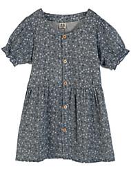 Robe Fille de Fleur Décontracté / Quotidien Coton Eté Bleu / Rouge / Beige