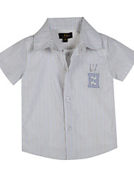 Katoen-Zomer-Boy's-Overhemd-Gestreept