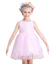 Girl's Cotton Summer High-end Embroidery Solid Color Sleeveless Flower Girls Formal Dress Dress