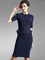 Baoyan® Damen Rundhalsausschnitt 1/2 Ärmel Knielänge Kleid-150892