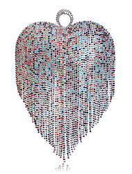 L.west Women Personality Heart-shaped Tassel Evening Bag