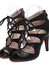 Women's Shoes Leatherette Stiletto Heel Heels Sandals Party & Evening Black / Gold