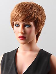 noble courte vague naturelle pelucheux vraie perruque de cheveux humains douce avec bang côté pour les femmes