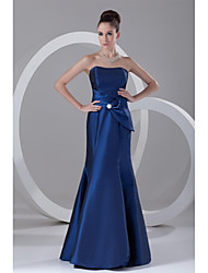 Formal Evening Dress Trumpet / Mermaid Strapless Floor-length Taffeta with Crystal Detailing / Side Draping