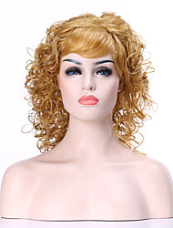 Capless Blonde Very Curly Long  Synthetic Hair Wig Woman's  Full  Wigs Suit for Daily Life