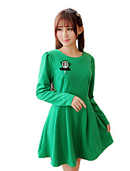 Women's Simple Solid A Line Dress,Round Neck Mini Polyester