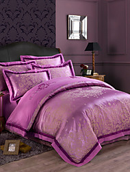 Queen King Size Bedding Set Luxury Silk Cotton Blend Duvet Cover Sets